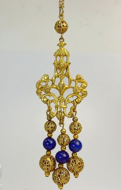 Victorian Revival Gold Filigree Bead Pendant Necklace by jujubee1