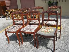 6 Antique Carved Rose Back Saber Leg Mahogany Dining Parlor Chairs Vintage Furniture Painted