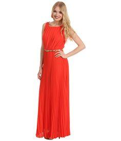 Love the vibrant orange hue of this pleated chiffon gown. #elizaj #fashion #colorlove
