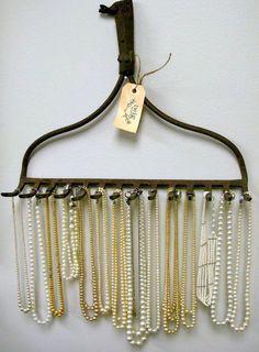 old garden rake to hang car / tractor keys, key holder garden rake