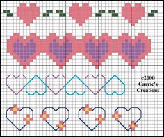 cross stitch hearts border - (free chart)