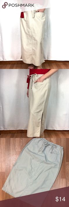 Pocketed Linen Ankle-Length Skirt Flax colored linen/cotton blend!  Elastic waist with functional drawstring, two front pockets, flattering front and back seams, knee-high slits on each side.  Great spring, summer or fall!  Shown here with the Side Tie Top also available in my closet!  Bundle for a bargain 😀  Perfect condition!  Worn only once or twice at the most! White Stag Skirts Maxi