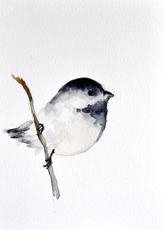 Chickadee ORIGINAL Watercolor bird painting/ by ArtCornerShop, $30.00