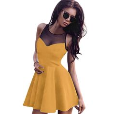 Unique sleeveless and mesh style create a illusion for stunning curves,It's the pleated dress together with the four colors can be chooes makes you more sexy and elegant #yellow #summeroutfits, dress for teens