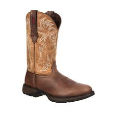 Rebel by Durango Mens Tan Leather Safety Steel Toe Cowboy Boots