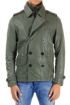 DIESEL double breasted leather jacket with cotton lining (art. 00S5M2 00WNY 5D8)