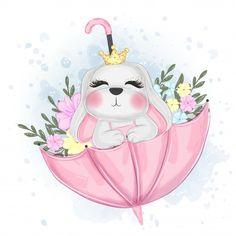 Cute Easter Bunny On Umbrella Watercolor Illustration Boat Cartoon, Cartoon Pics, Cute Cartoon, Baby Animal Drawings, Cute Drawings, Cute Easter Bunny, Baby Penguins, Baby Art, Animal Illustrations