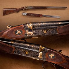 "John Olin's ""King Buck"" Winchester Model 21 Shotgun- This particular Model 21 is the highest grade they offered – the Grand Royal. Custom-made for John Olin, some consider it the finest firearm ever to leave the Winchester factory. The shotgun is heavily embossed and inlaid with solid gold to commemorate Olin's favorite hunting dog, a black lab named King Buck. NRA National Firearms Museum in Fairfax, Virginia."
