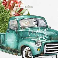 Christmas Truck, Red Christmas, Vintage Christmas, Christmas Banners, Funny Christmas, Christmas Christmas, Pick Up, Vintage Clipart, Xmas Wallpaper