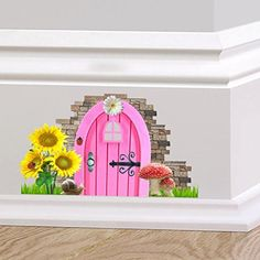 60 Second Makeover Limited Full Colour Fairy Pixie Door Cute Skirting Board Sticker Graphic Decal Wall Decal Sticker, Wall Stickers, Pixie, Robin, Fairy Room, Garden Mural, Cottage Door, Door Murals, Skirting Boards