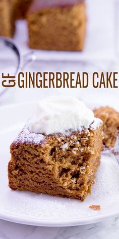 Gluten Free Gingerbread Cake — with Ginger, Cinnamon and Molasses Moist and tender gluten free gingerbread cake, perfectly spiced and ready for the holidays or any time at all. Make this easy snack cake in one bowl! Gluten Free Deserts, Gluten Free Sweets, Gluten Free Cakes, Foods With Gluten, Gluten Free Cooking, Dairy Free Recipes, Paleo, Gingerbread Cake, Gluten Free Gingerbread Cookies