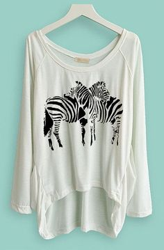 White Long Sleeve Zebra Print Asymmetrical T-Shirt