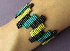 Turquoise Yellow & Black Macrame Color Block by UrbanConfetti
