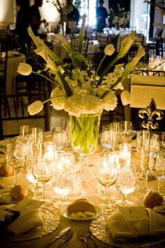 Calla, tulip, orchid, and hydrangea centerpiece