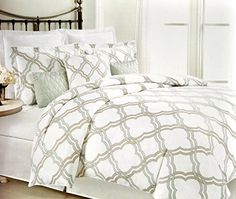 Max Studio Modern Geometric Quatrefoil Lattice Trellis Pattern Full Queen Size 3 Piece Duvet Quilt Cover Set Tan Aqua Green Max Studio Home http://www.amazon.com/dp/B00XMNEHMY/ref=cm_sw_r_pi_dp_TwFIvb0EJQF7N