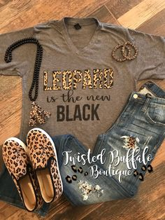Leopard Is the New Black Tee {Pre-Order} Black Tees, Mode Outfits, Casual Outfits, Fashion Outfits, Fashion 2018, Fashion Trends, Fashion Boots, Grey Fashion, Look Fashion
