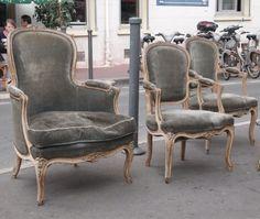 French Chairs - Paris Flea market from The Paris Apartment - LOVE Paris Flea markets and LOVE this blog!