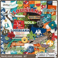 Travelogue Louisiana - Kit :: Gotta Pixel Digital Scrapbook Store by Connie Prince $4.99