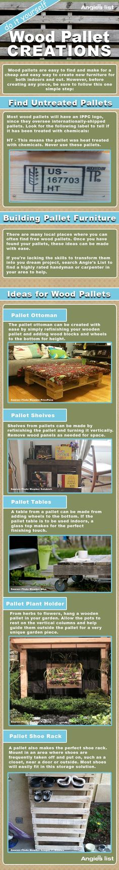 Wood Pallet Creations ~ via Angies List Pallet Crates, Old Pallets, Pallet Art, Wooden Pallets, Diy Pallet, Pallet Wood, Diy Projects To Try, Pallet Projects, Pallet Ideas