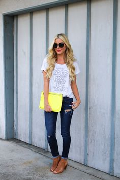 Spring/summer outfit-pop of color-clutch-A Touch of Pink Blog