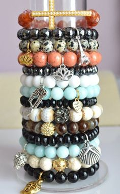 Beaded Bracelets Stacking Bracelets Stretch Bracelets Beaded Bracelet Set Heart/Eiffel/Cat/Buddha Charm Jade/Agate/Hematite/Onyx/Howlite