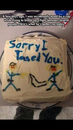 "Kind Police Officer Bakes A Cake That Says ""Sorry I Tased You"" In Blue Icing."