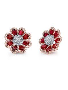 Norman Silverman 18k Pear Shape Ruby and Diamond Flower Earrings at London Jewelers!