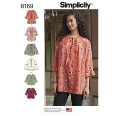 8169 Misses' loose-fitting tunic or top with sleeve, neckline and trim options including 3/4 sleeve plus flounce, long bishop sleeve, tie bow or snap neck closure, high low hemline or lace trim on sleeves. Simplicity sewing pattern. Pre Fall 2016