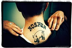 "Skin Deep - Hey, Mom, the Rabbi Approved My Tattoo - NYTimes.com  Some crack jokes, like the one on the back of Ari Bacharach's neck: the word ""Kosher"" above a pig, an ironic statement about identity."