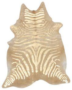 Silkscreen Zebra Cowhide Natural Rug - eclectic - rugs - Rugs USA