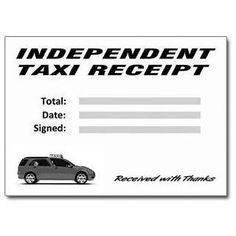 Mini-Cab, Hackney and Independent Taxi Receipt Pads (50 Receipts Per Pad)