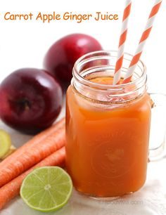 Carrot Apple Ginger Juice with Lime - Naturally Sweet Juice - Perfect Breakfast Drink (Recipe Using a Blender)