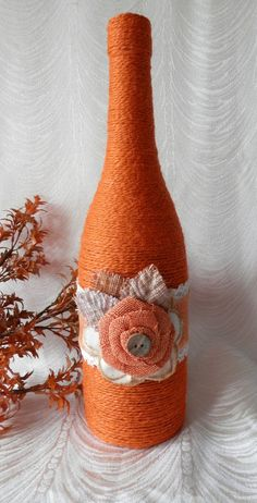 Handcrafted Rustic Jute Wrapped Wine Bottle by CandleStreet Wrapped Wine Bottles, Wine Bottle Corks, Diy Bottle, Wine Bottle Crafts, Mason Jar Crafts, Cork Crafts, Diy Crafts, Handmade Crafts, Wine Craft