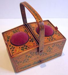 Antique Late 1800s Stenciled Sewing Box with Pin Cushion.