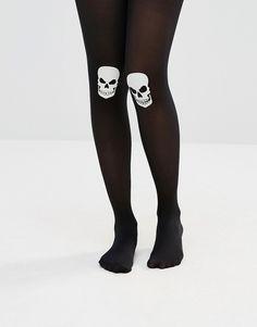 ASOS Halloween Glow In The Dark Skull On Knee Tights