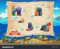 Fish World - Illustration Example Screen Levels, Game Interface With Progress Bar, Objects, Buttons For Gaming Or Web Design - 319808594 : Shutterstock