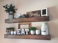 50 Amazing Living Room Designs With Floating Shelves Farmhouse Dining Room Amazing Designs Floating living Room Shelves Dining Room Shelves, Dining Room Wall Decor, Living Room Kitchen, Decor Room, Kitchen Dinning, Dining Nook, Room Decorations, Living Room Decor For Walls, Floating Living Room Shelves