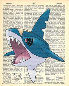 Sharpedo Pokemon Dictionary Art Print by MollyMuffinsPrints
