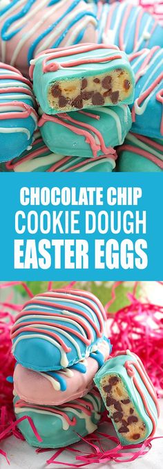 I promise that no one will be disappointed if they find these Easter Egg Cookie Dough Truffles in their baskets Easter morning! These Homemade Chocolate Chip Cookie Dough Easter Eggs are easy to make and so fun to decorate. Plus they taste AMAZING! No Egg Cookies, Easter Cookies, Easter Treats, Cookies Et Biscuits, Holiday Desserts, Holiday Baking, Holiday Treats, Holiday Recipes, Easter Desserts