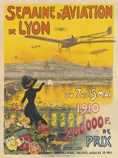 semaine de l'aviation de Lyon - 1910 - illustration de Charles Tichon - France -