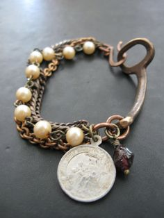 Upcycled Antique Skeleton Key Bracelet with Mixed by savagesalvage, $32.00