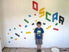 lego decorating bedroom ideas | Painted this on my Nephew Oscar's bedroom wall. I made stencils out of ...