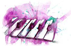 Watercolor piano Paintings | Watercolor Piano (Pink) Art Print by Jonathan Meyer | Society6
