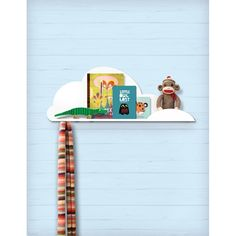 cute little Cloud Shelf with hook and nook-small enough to tuck in anywhere, sweet enough to go with any play room or kid's bedroom decor.  CLOUDSHELF $30