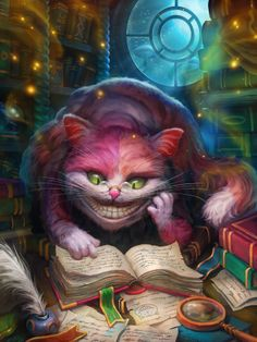 Digital Art: Cheshire Cat.    Wish I could find the artist!