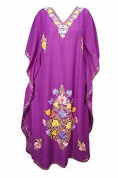 dab8bc1233aa Women Kaftan Maxi Dress Embroidered Purple Long Caftan One Size - Fashion  Caftan Dress, Floral
