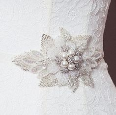 homepage > DEBBIE CARLISLE > LILY BEADED FLOWER WEDDING SASH