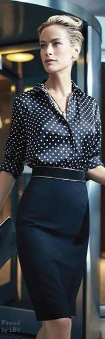 Office style in black with white polka dots #interviewoutfit #workoutfit #bfcloset