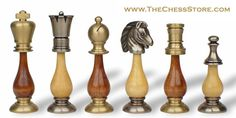 Chess.  Brass & Wood Persian Staunton Chess Set in brass and steel.  http://www.thechessstore.com/product/MS154BIT/Brass-Wood-Persian-Staunton-Chess-Set.html