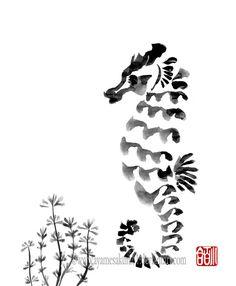 Seahorse - sumi-e by *AyameSakura61 on deviantART